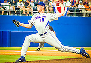 Florida pitcher A.J. Puk throws the ball in the first-inning of Saturday's game against FSU for the Gainesville Super Regional. (photo by Samuel Navarro)