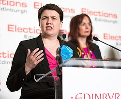 Scottish Parliament Election 2016 Royal Highland Centre Ingliston Edinburgh 05 May 2016; Ruth Davidson (Scottish Conservative leader) gives her acceptance speech in front of Alison Dickie (SNP) during the Scottish Parliament Election 2016, Royal Highland Centre, Ingliston Edinburgh.<br /> <br /> (c) Chris McCluskie | Edinburgh Elite media