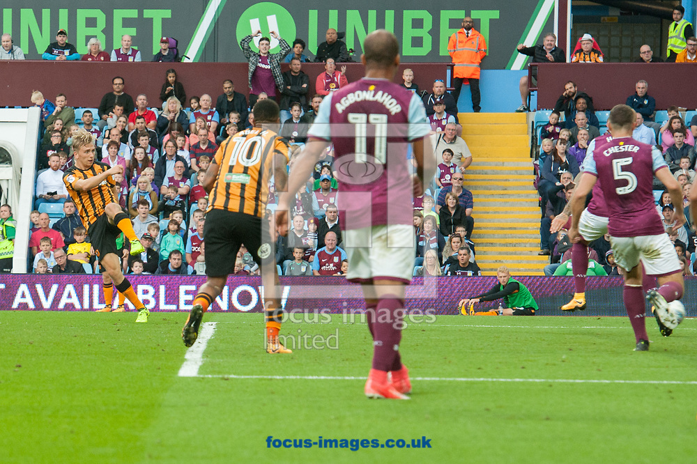 Jarrod Bowen of Hull City drives home his sides first goal during the Sky Bet Championship match at Villa Park, Birmingham<br /> Picture by Matt Wilkinson/Focus Images Ltd 07814 960751<br /> 05/08/2017
