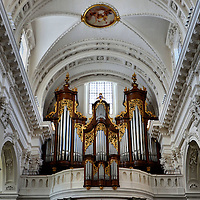 Cathedral of St. Ursus Organ in Solothurn, Switzerland<br /> This is the impressive main organ of the Cathedral of St. Ursus.  It was built by Ferdinand Viktor Bosshard and installed in 1772.  It was rebuilt in 1942 and again in 1975 but the pipes are original.  It is located at the western end of the nave vault of this Roman Catholic church.