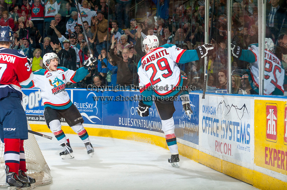 KELOWNA, CANADA - MARCH 28: Leon Draisaitl #29 celebrates a goal with Tyson Baillie #24 of Kelowna Rockets on March 28, 2015 at Prospera Place in Kelowna, British Columbia, Canada.  (Photo by Marissa Baecker/Shoot the Breeze)  *** Local Caption *** Leon Draisaitl; Tyson Baillie;