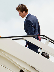© London News Pictures. 06/06/2012. Luton, UK.  England and Tottenham midfielder Scott Parker boarding a plane at Luton Airport in Bedfordshire on June 6, 2012 to head to Poland for the Euro 2012 football tournament. The squads training camp is based in Krakow.  Photo credit: Ben Cawthra/LNP