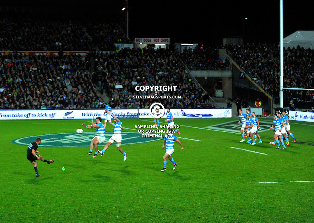 Aaron Cruden's conversion attempt is charged down during The Rugby Championship match between the NZ All Blacks and Argentina Pumas at FMG Stadium in Hamilton, New Zealand on Saturday, 10 September 2016. Photo: Dave Lintott / lintottphoto.co.nz