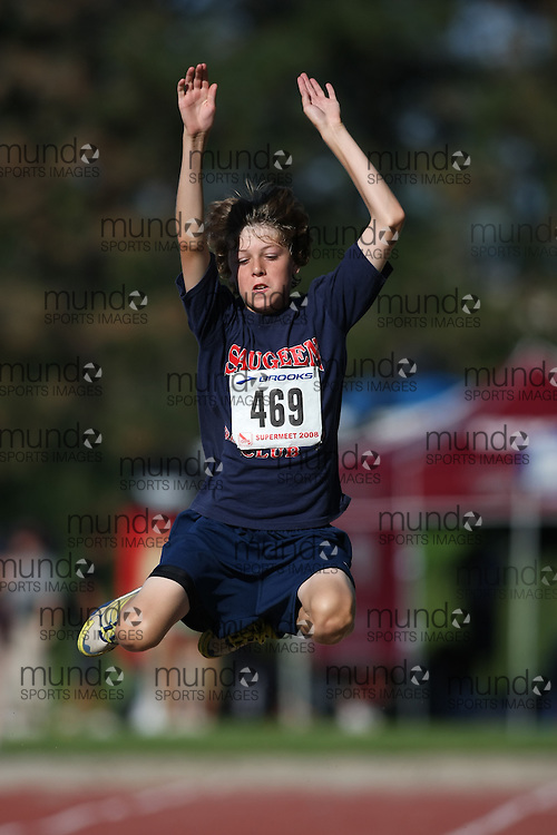 (Toronto, Ontario---3 August 2008)  JD West competing in the long jump at the 2008 OTFA Supermeet II, the Bantam, Midget, Youth Track and Field Championships. This image is copyright Sean W. Burges, and the photographer can be contacted at www.msievents.com.