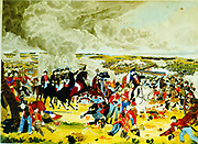 Battle of Waterloo, 18 June 1815.  Wellington with his Staff doffing his hat (to Blucher). This battle brought to an end the Napoleonic Wars.  Watercolour sketch by John Atkinson.
