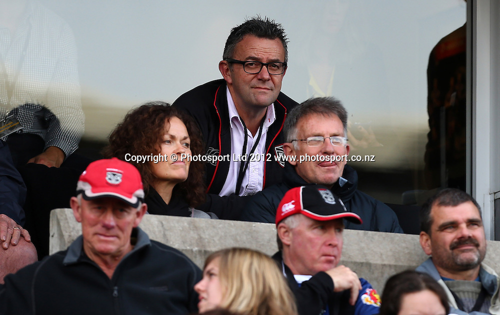 Warriors CEO Wayne Scurrah watches dejectedly as the Warriors loose to the Sharks during the NRL game, Vodafone Warriors v Cronulla Sharks, Mt Smart Stadium, Auckland, Sunday 5 August  2012. Photo: Simon Watts /photosport.co.nz