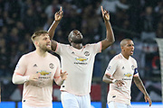 GOAL - Manchester United Forward Romelu Lukaku celebrates 0-1 Manchester United Midfielder Ashley Young calms during the Champions League Round of 16 2nd leg match between Paris Saint-Germain and Manchester United at Parc des Princes, Paris, France on 6 March 2019.