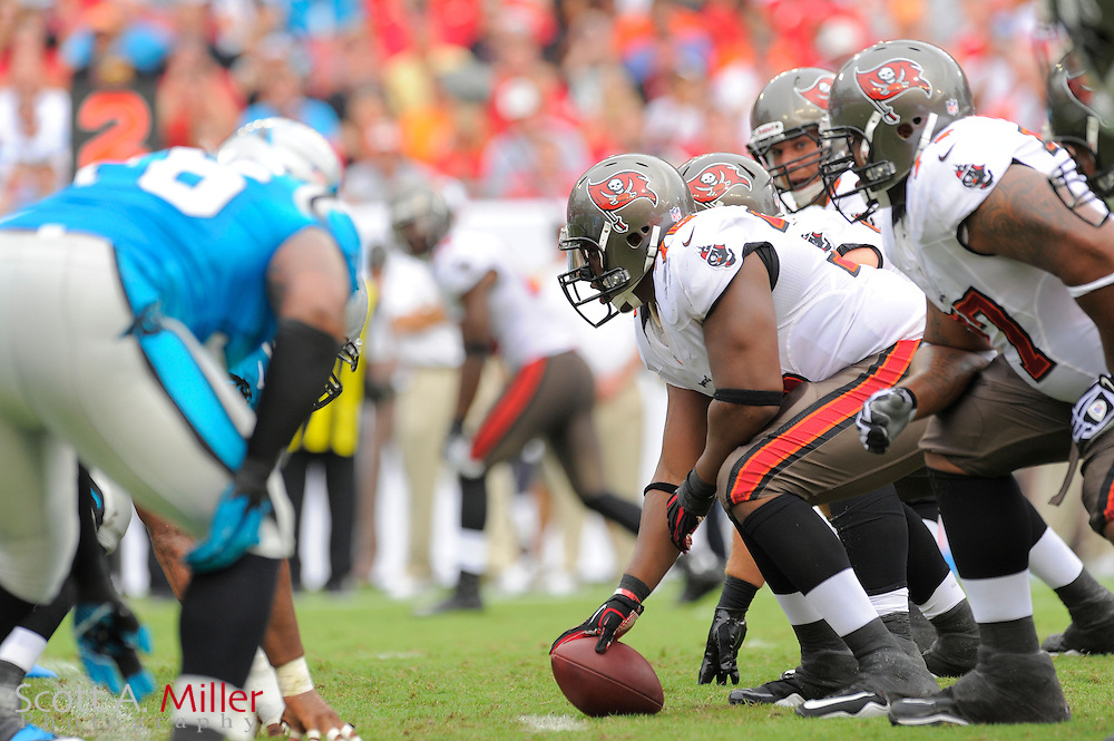 Tampa Bay Buccaneers offensive line during the Bucs game against the Carolina Panthers at Raymond James Stadium  on September 9, 2012 in Tampa, Florida.  The Bucs won 16-10..©2012 Scott A. Miller...