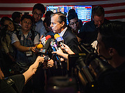 "02 MARCH 2016 - BANGKOK, THAILAND: Glyn T. Davies, US Ambassador to Thailand, gives a press conference about the US political process during an election watch event on ""Super Tuesday"" sponsored by the US Embassy at Dean & Delucca in Bangkok.   PHOTO BY JACK KURTZ"