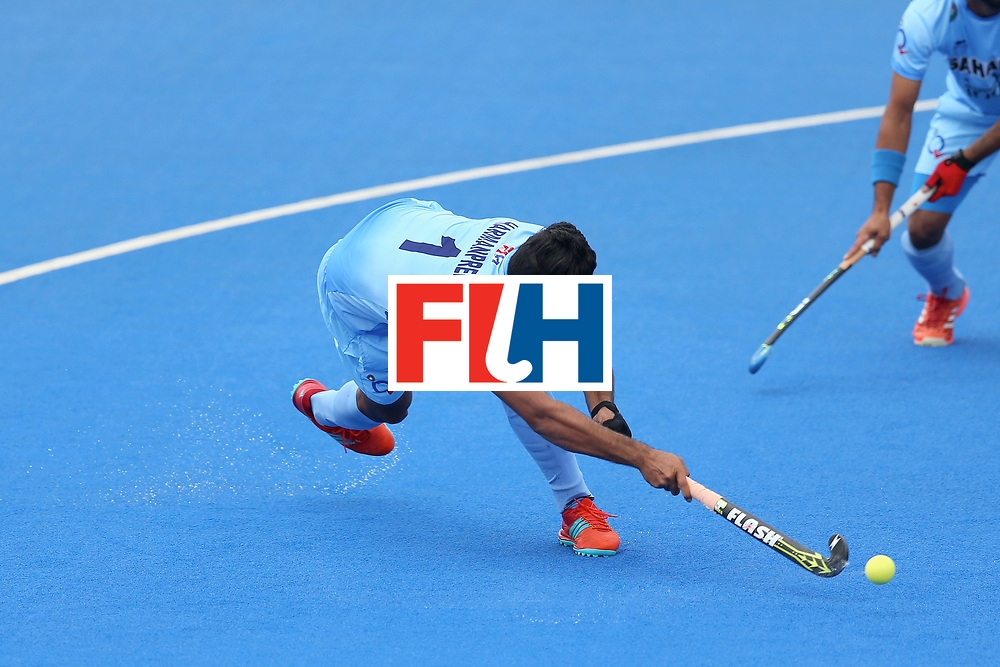 LONDON, ENGLAND - JUNE 25: Harmanpreet Singh of India scores their teams first goal from a penalty corner during the 5th/6th place match between India and Canada on day nine of the Hero Hockey World League Semi-Final at Lee Valley Hockey and Tennis Centre on June 25, 2017 in London, England. (Photo by Steve Bardens/Getty Images)