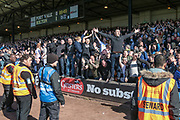 Bolton Wanderers fans sing and celebrate taking the lead as David Wheater (Captain) (Bolton Wanderers) scores the first goal to make it 1-0 to the visitors. A pitch invasion followed during the EFL Sky Bet League 1 match between Port Vale and Bolton Wanderers at Vale Park, Burslem, England on 22 April 2017. Photo by Mark P Doherty.