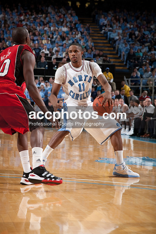 28 December 2009: North Carolina Tar Heels guard Larry Drew II (11) during a 67-81 win over the Rutgers Scarlet Knights at the Dean E. Smith Center in Chapel Hill, NC.