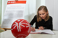 Kinga Baranowska - Polish mountaineer poses to photo with disability athlete during 30 years anniversary of The Special Olympics Poland at Presidential Palace in Warsaw on March 18, 2015.<br /> <br /> Poland, Warsaw, March 18, 2015<br /> <br /> For editorial use only. Any commercial or promotional use requires permission.<br /> <br /> Mandatory credit:<br /> Photo by © Adam Nurkiewicz / Mediasport