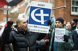 © under license to London News Pictures. 29/01/2011. Demonstrators outside the Egyptian Embassy in London today (29/01/2011) following violent outbreaks at some of Egypts major cities. Tens of thousands of demonstrators have taken to the streets across Egypt in Cairo, Suez, and Alexandria to call for the resignation of President Hosni Mubarak. regime. Photo credit should read: London News Pictures