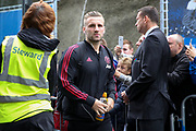 Manchester United Defender Luke Shaw arrives off the club coach during the Premier League match between Brighton and Hove Albion and Manchester United at the American Express Community Stadium, Brighton and Hove, England on 19 August 2018.