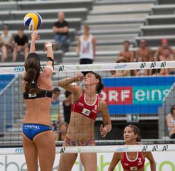 30.07.2014, Strandbad, Klagenfurt, AUT, A1 Beachvolleyball Grand Slam 2014, im Bild Alexandra SHIRYAEVA MOISEEVA 1 RUS / Ekaterina SYRTSEVA 2 RUS<br /> , Lena Maria PLESIUTSCHNIG 1 AUT // during the A1 Beachvolleyball Grand Slam at the Strandbad Klagenfurt, Austria on 2014/07/30. EXPA Pictures &copy; 2014, EXPA Pictures &copy; 2014, PhotoCredit: EXPA/ Mag. Gert Steinthaler
