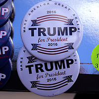 Support buttons for Donald Trump are seen during a rally for the US presidential campaign in Tampa, Florida, America - 12  Feb 2016