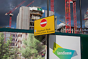 A No Entry sign at Elephant Park, at Elephant & Castle, London borough of Southwark. Southwark Council's development partner, Lendlease is regenerating over 28 acres across three sites at the heart of Elephant & Castle, in what is the latest major regeneration opportunity in zone 1 London. The vision for the £1.5 billion regeneration is to build on the area's strengths and vibrant character in order to re-establish Elephant & Castle as one of London's most flourishing urban quarters. The Elephant & Castle regeneration is of a scale rarely seen in central London and includes almost 3,000 new homes, plus office, retail, community, leisure and restaurant space.