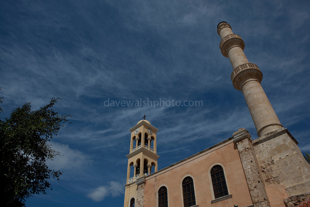 The church of Agios Nikolaos, with minaret, Xania, Crete, Greece