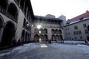 Wavel Castle courtyard architecture, Krakow, Poland