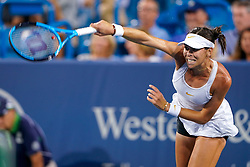 August 15, 2018 - Cincinnati, OH, U.S. - CINCINNATI, OH - AUGUST 15: Aryna Sabalenka (BLR) serves during the Western & Southern Open at the Lindner Family Tennis Center in Mason, Ohio on August 15, 2018. (Photo by Adam Lacy/Icon Sportswire) (Credit Image: © Adam Lacy/Icon SMI via ZUMA Press)
