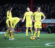 Burnley midfielder Joey Barton moments before scoring second goal from free kick during the Sky Bet Championship match between Brentford and Burnley at Griffin Park, London, England on 15 January 2016. Photo by Matthew Redman.