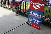 Public Advocate Candidate Bill De Blasio at The St.Gabriels' Episcopal/Angelican Church's Senior Center campaigning for Public Advocate Bill De Blasio in the Lefferts Garden section of Brooklyn on July 22, 2009 in Brooklyn, New York