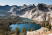 Twin Lakes (8858 feet elevation) in Sawtooth Wilderness, Blaine County, Idaho, USA. The Sawtooth Range (part of the Rocky Mountains) are made of pink granite of the 50 million year old Sawtooth batholith. Sawtooth Wilderness, managed by the US Forest Service within Sawtooth National Recreation Area, has some of the best air quality in the lower 48 states (says the US EPA).