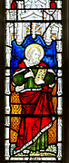 Stained glass window of Saint Mark by Clayton and Bell 1870s, Tattingstone church, Suffolk, England, UK
