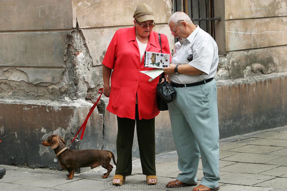 Krakow, Poland tourists with dog.