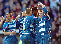 Photo: Kevin Poolman.<br />Reading v Derby County. Coca Cola Championship. 01/04/2006. Reading players celebrate their 3rd goal