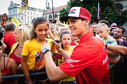 Tim Gajser with fans during sprejem Tima Gajsreja, on Avgust 27, 2019 in Maribor, Slovenia. Photo by Blaž Weindorfer / Sportida