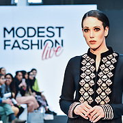 AAB showcases its latest collection at Modest Fashion Live at Olympia London on 14 April 2019, London, UK.