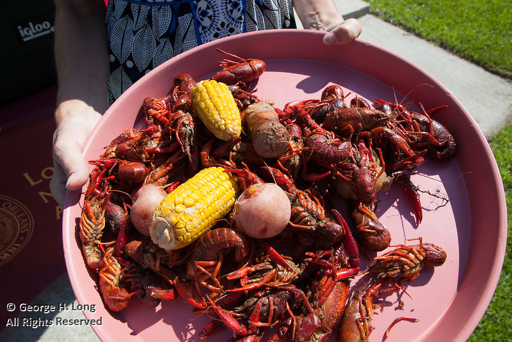 Crawfish boil for the North Shore Chapter of Loyola University alumni at the home of George Long and Courtney Blitch in Abita Springs, Louisiana