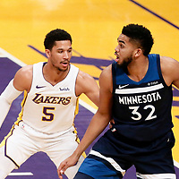25 December 2017: Minnesota Timberwolves center Karl-Anthony Towns (32) posts up Los Angeles Lakers guard Josh Hart (5) during the Minnesota Timberwolves 121-104 victory over the LA Lakers, at the Staples Center, Los Angeles, California, USA.
