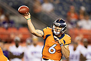 DENVER, CO - AUGUST 11:  Chad Kelley #6 of the Denver Broncos throws a pass during preseason week 1 against the Minnesota Vikings at Broncos Stadium at Mile High on August 11, 2018 in Denver, Colorado.  The Vikings defeated the Broncos 42-28.  (Photo by Wesley Hitt/Getty Images) *** Local Caption *** Chad Kelly