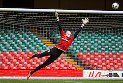 CARDIFF, WALES - Saturday, March 26, 2016: Wales' goalkeeper Wayne Hennessey during a training session at the Millennium Stadium ahead of the International Friendly match against Ukraine. (Pic by David Rawcliffe/Propaganda)
