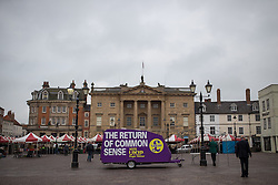 © Licensed to London News Pictures . 02/06/2014 . Newark , Nottinghamshire , UK . UKIP mobile campaign trailer in Market Square outside the Town Hall in Newark today (Monday 2nd June 2014), ahead of the by-election due to take place on Thursday (5th June 2014) . Photo credit : Joel Goodman/LNP