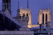 France. Paris. 1st district. Elevated view.  Sainte Chapelle and  justice palace