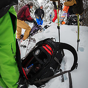 Heather Goodrich, Jay Goodrich, Tyler, Owen, and Jilli Morgan pull their skins for another run in the Mount Baker backcountry.