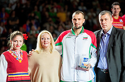 Viktor Yosifov of Bulgaria as Second best middle blocker at trophy ceremony after volleyball match between National teams of Slovenia and France at Final match of 2015 CEV Volleyball European Championship - Men, on October 18, 2015 in Arena Armeec, Sofia, Bulgaria. Photo by Vid Ponikvar / Sportida