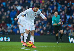 BIRMINGHAM, ENGLAND - Sunday, February 14, 2016: Liverpool's Emre Can scores the third goal against Aston Villa during the Premier League match at Villa Park. (Pic by David Rawcliffe/Propaganda)