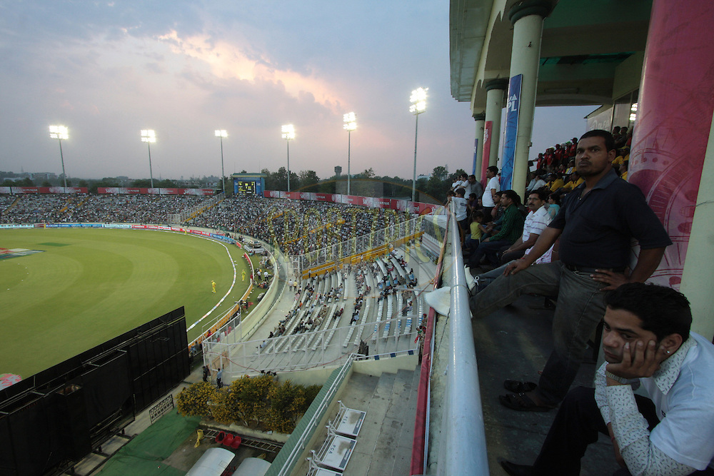 People watching during match 9 of the Indian Premier League ( IPL ) Season 4 between the Kings XI Punjab and the Chennai Super Kings held at the PCA stadium in Mohali, Chandigarh, India on the 13th April 2011..Photo by Anil Dayal/BCCI/SPORTZPICS