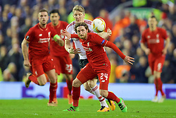 LIVERPOOL, ENGLAND - Thursday, March 10, 2016: Liverpool's Joe Allen in action against Manchester United's Bastian Schweinsteiger during the UEFA Europa League Round of 16 1st Leg match at Anfield. (Pic by David Rawcliffe/Propaganda)