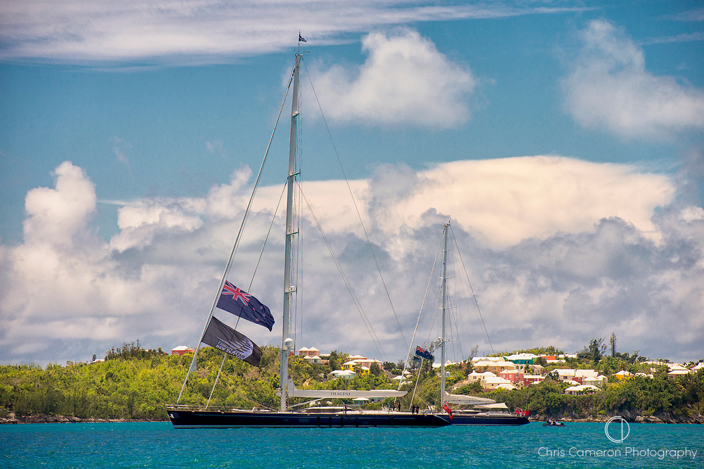 The Great Sound, Bermuda, 26th June 2017. Emirates Team New Zealand Principal Matteo de Nora's two yachts Imagine and Imagine 2.