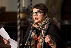 © Licensed to London News Pictures.  25/11/2017; Bristol, UK. TARA NEWLEY ARKLE (daughter of Dame Joan Collins) speaking to women's group The Soroptomists in Bristol's Lord Mayor's Chapel at a rally against domestic violence and to campaign for healthy relationships. Under the banner 'Railing Against Abuse', members of the group travelled to Bristol by train on Saturday, November 25, before walking to College Green where they handed out leaflets entitled Loves Me, Loves Me Not in the shape of bookmarks and cards which offer a simple message about abusive relationships and a helpline for anyone who needs support. They were joined by Lord Mayor Lesley Alexander, and Avon & Somerset Police and Crime Commissioner Sue Mountstevens. The march marks the United Nations' Elimination of Violence Against Women Day. Picture credit: Simon Chapman/LNP