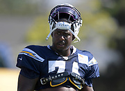 Aug 6, 2018; Costa Mesa, CA, USA: Los Angeles Chargers nose tackle Damion Square (71) during training camp at the Jack. R. Hammett Sports Complex.