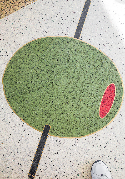 Florida terrazzo floor at The Continental restaurant in The Gates Hotel in Miami Beach