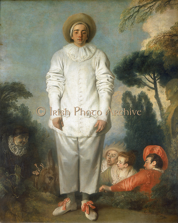 Gilles as Pierrot'  by Jean-Antoine WATTEAU (1684-1721) French artist. Oil on canvas. Louvre, Paris.  Pierrot (Pedrolino in original Italian commedia dell'arte), naïve, unsuccessful lover, played in baggy white satin suit and whitened, unmasked face. Other figures are Doctor (masked) on ass, Leandre, Isabelle and the Captain.