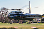 Marine One Presidential helicopter takes off from the South Lawn of the White House Washington, DC.